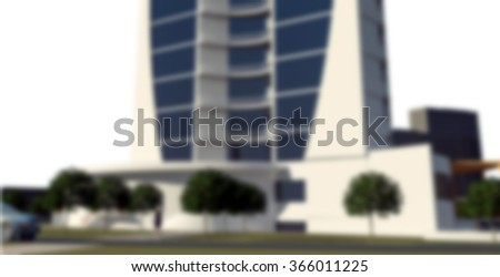 Blur or Defocus imafe of 3d rendering of modern conceptual business centre building isolated on white - stock photo