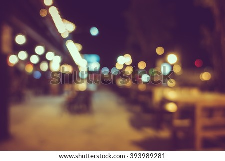 Blur or Defocus image of Coffee Shop, restuarant or Cafeteria at night for use as Background