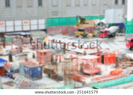Blur or defocus image of Worker in Construction site as background - stock photo