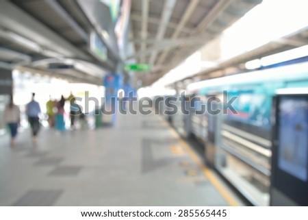 Blur or defocus of People waiting for Sky train in Bangkok City - stock photo