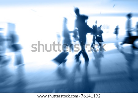 blur people at the station - stock photo