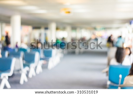 Blur people in airport terminal. - stock photo