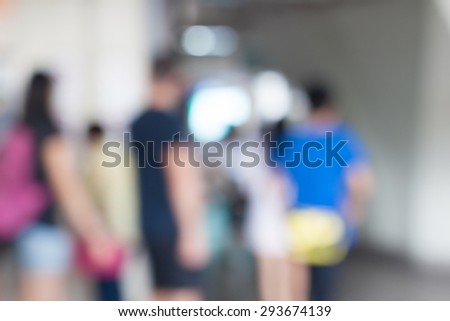 Blur people walking on sky train station, blur people background - stock photo