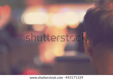 blur people watching movie in theater - blurred background - stock photo