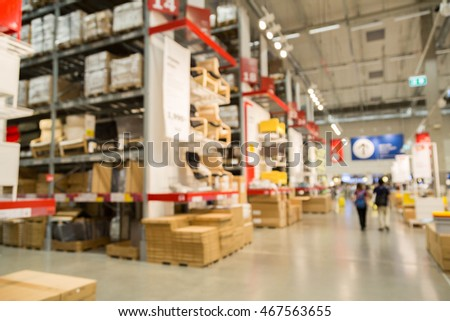 blur picture background  of warehouse shopping in furniture mall