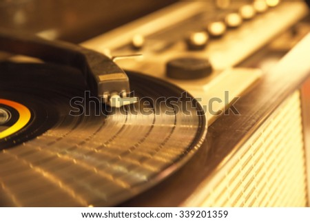 blur record player music background - stock photo