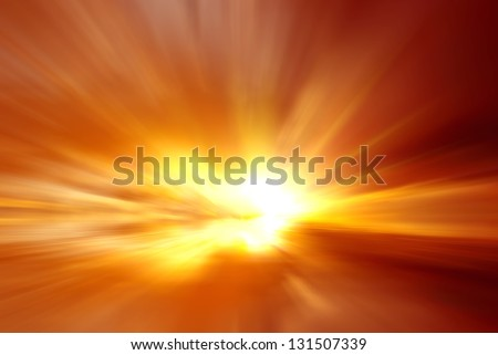 Blur red bloody sunset - stock photo