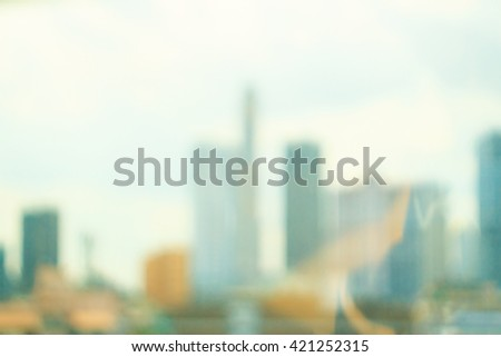 Blur restaurant at rooftop. Balcony View Urban City Luxury Travel Asia Booked Friend Day Skyline Sun Terrance Top Hotel Resort Chair Table Love Business Dinner Party Sky Work Glass Travel Town concept - stock photo
