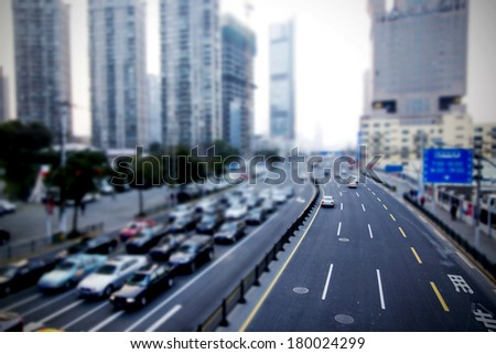 Blur road construction - stock photo