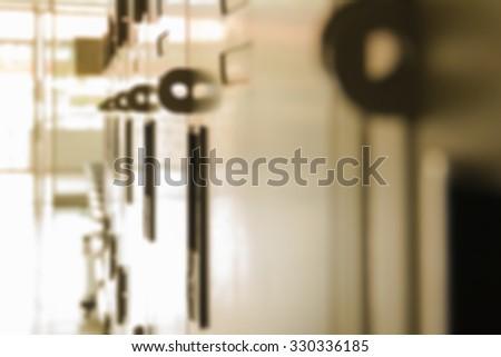 Blur School Hallway Roll Locker Shallow DOF - stock photo