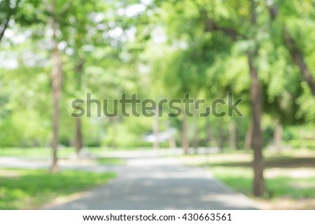 blur soil walkway in the park,place to exercise and relax, good weather. blur concrete walkway in the park,place to exercise and relax,good weather,blur long road in the park. abstract,blur background - stock photo