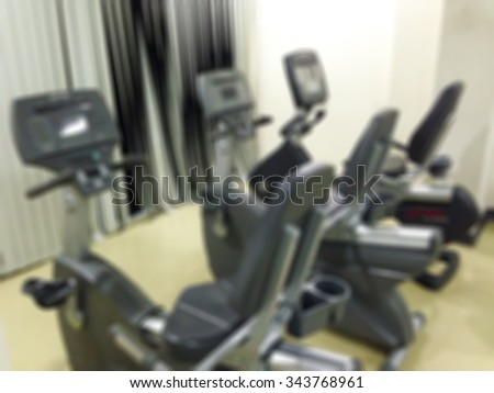 Blur stationary bike in the fitness room