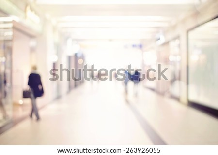 Blur store with bokeh background, unrecognizable people shopping, business people walking  in the office corridor - stock photo