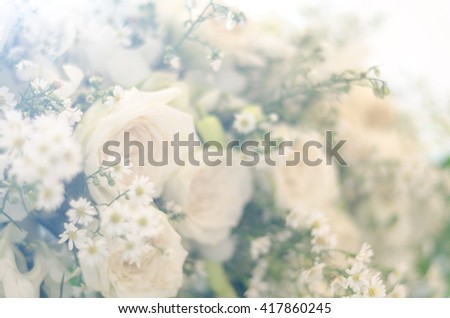 blur style white rose bouquet for background - stock photo