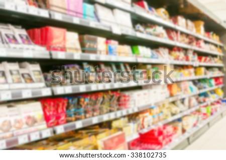 Blur supermarket. Product shelf - stock photo