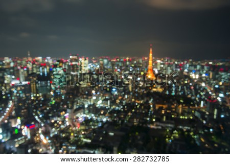 Blur Tokyo City Skyline at Night - stock photo