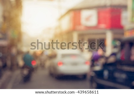 Blur traffic road with bokeh light abstract background.Retro color style - stock photo