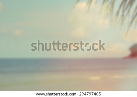 Blur tropical beach abstract background.Retro color style. - stock photo