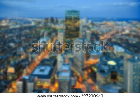 blur view of Boston city skyline for background - stock photo
