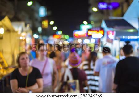 blur Walking street night market in huahin Thailand - stock photo