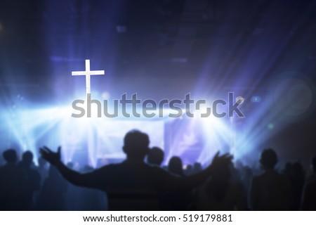 Blur?Worship concept. Hand Raise Life Chorus Song Pray Praise Autumn Cross Over Xmas Sky Adore Right Belief Trust Music Peace Death Bless Help Mercy Grief Vote God Person Gospel Humble Unity Service