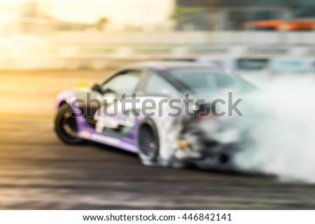 Blured car drifting, motion blur drift