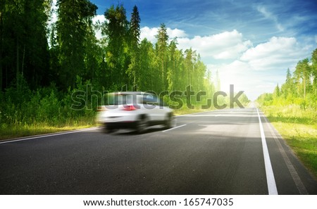 blured car on  road  - stock photo