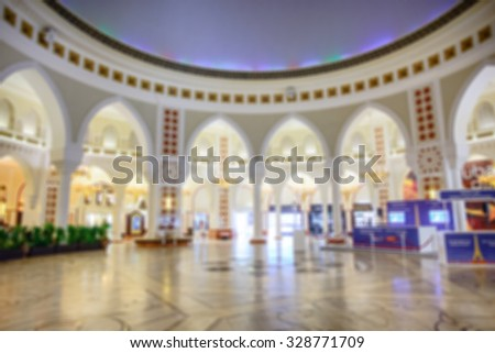 Blured image inside shopping mall of Dubai.