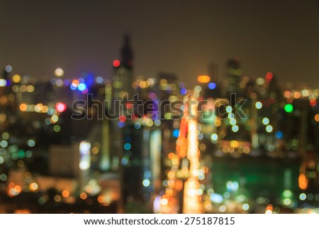 blured lighhts from the top of building, Bangkok,Thailand  - stock photo