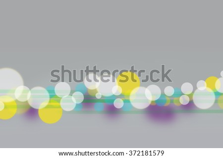 Blured lights design. Bitmap background. White, yellow and blue lights at the gray background.