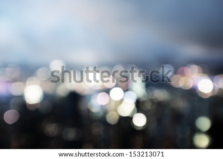 blured lights from peak Victoria, Hong Kong - stock photo