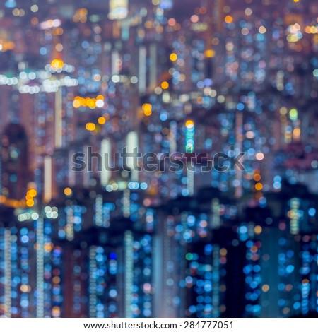 blured lights of Hong kong city from Kowloon peak , Hong Kong - stock photo