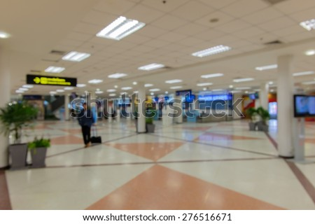 Blured Passenger In the Thailand airport. - stock photo