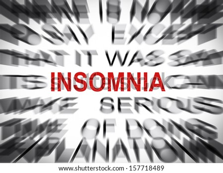 Blured text with focus on INSOMNIA - stock photo