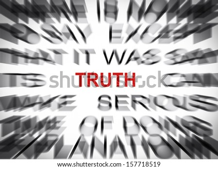 Blured text with focus on TRUTH - stock photo