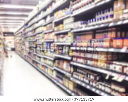 Blurred abstract background inside grocery store/ supermarket: Shelves of dry food product & diary supplies: Blurry perspective view indoor space of market/ food retail shop interior: Consumer rights  - stock photo
