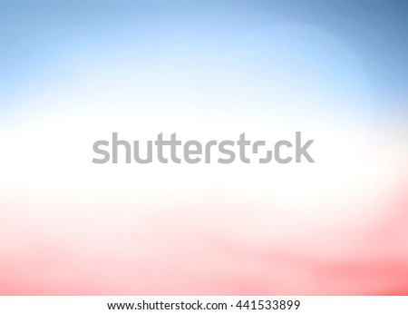 Blurred Abstract Background. Nature, Bright, Sun, Sand, Sea, Bokeh, Flare, Soft, Glow, Ocean, Relax, Shine, Pastel, Fresh, Blank, Banner, Vibrant, Morning, Blue, Red, White, Color, Sky, 4th July, USA. - stock photo