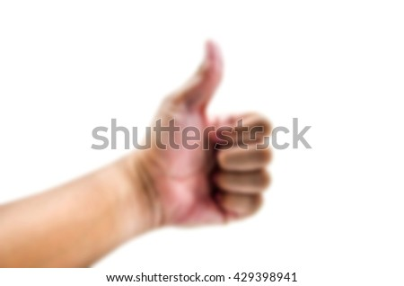 Blurred abstract background of Men thumbs On a white background