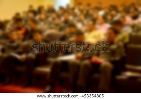 Blurred abstract background of  People Meeting Conference Seminar - stock photo