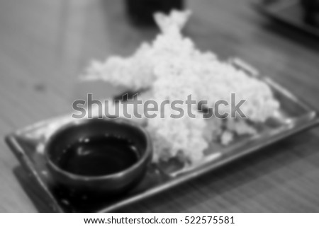 Blurred abstract background of Tempura shrimp