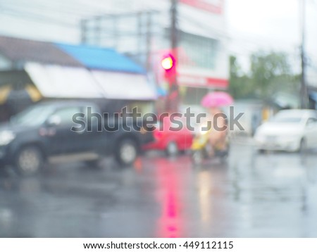 Blurred abstract background of Traffic on a rainy day - stock photo