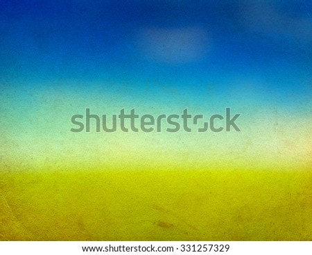 Blurred Abstract Background with Blue and Yellow on the Paper Texture - stock photo
