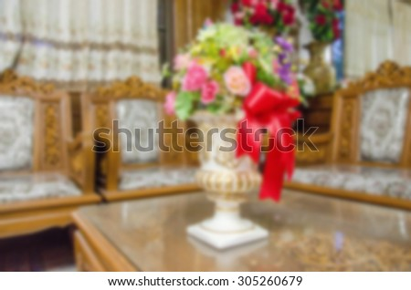Blurred antique vase to put flowers in the room vintage luxury for background