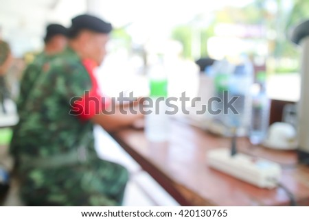 blurred Armed soldiers manning checkpoints this military base  - stock photo
