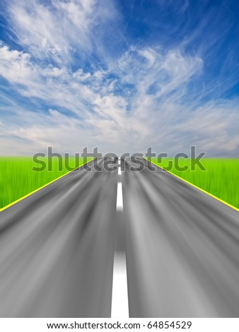 Blurred asphalt road with clouds