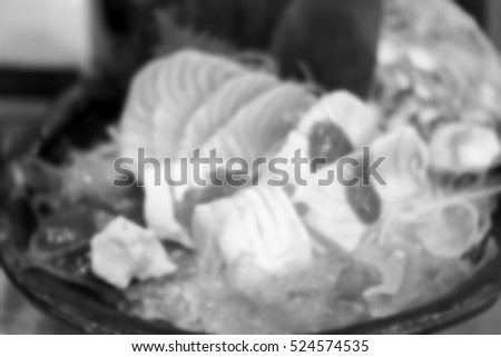 Blurred  background abstract and can be illustration to article of salmon sashimi