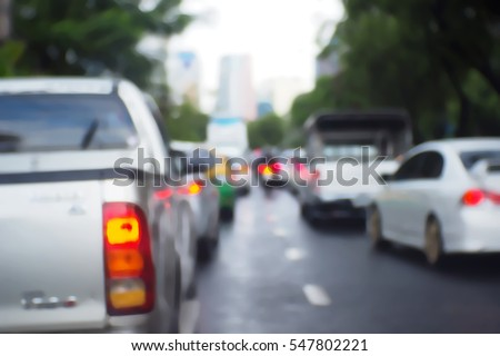 Blurred  background abstract and can be illustration to article of traffic in bangkok