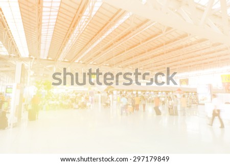 Blurred background, abstract bokeh light at airport - stock photo