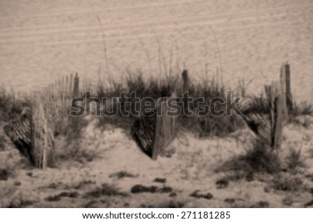 Blurred Background Black and White Image of the Beautiful Coastline with Erosion Control Fence  - stock photo