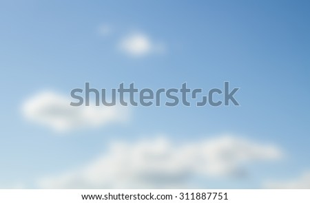 blurred background, blue sky and white clouds